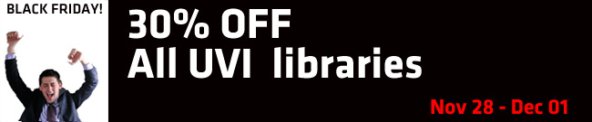 Banner UVI 30% off all libraries