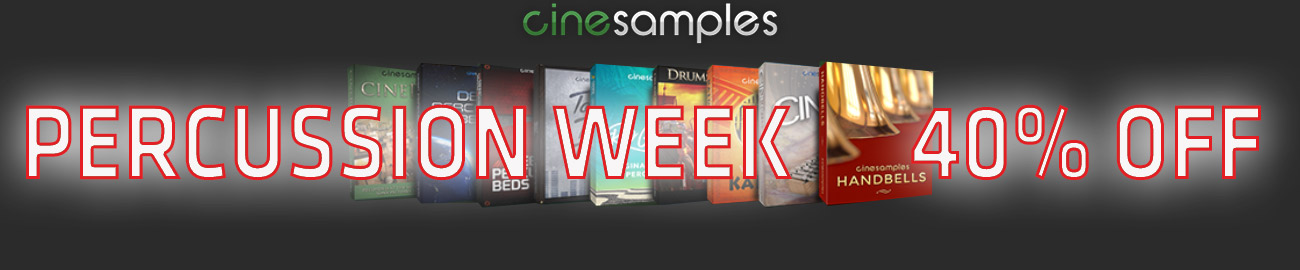Banner Cinesamples PERCUSSION WEEK 40% OFF